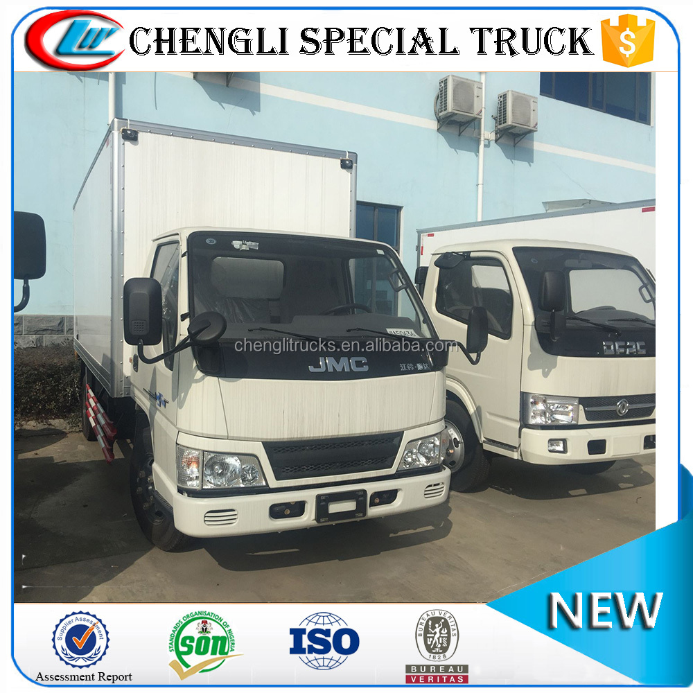 China Factory Left hand drive 4x2 3t 4t 5t JMC Cargo Box Truck Price Cheap for Sale