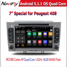 HD 1024X600 Android 5.1.1 Car DVD Stereo For Peugeot 308 408 Auto Radio RDS Navigation Audio Video Multimedia Player