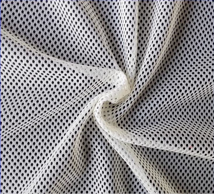 Different color Polyester Mesh Lining Eyelet Fabric For Sportswear Moisture Wicking