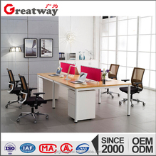 2016 hot sale modern white melamine 4 seater office desk