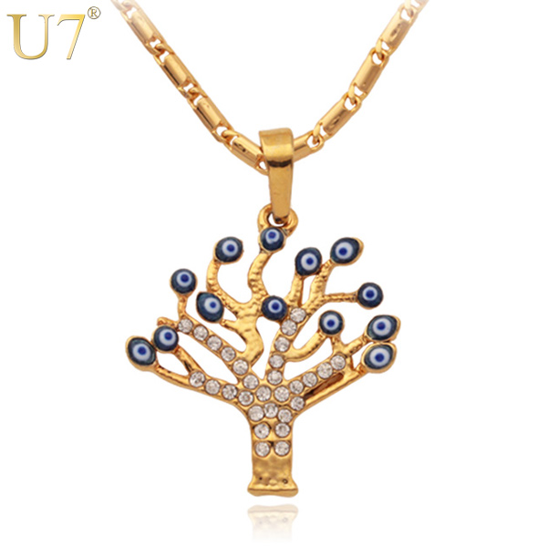 U7 Gold Plated Men Women Charms Pendant Rhinestone Lucky Tree Of Life Necklace , Turkish Jewelry Evil Eyes Necklace
