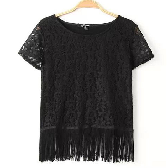 2015 New Arrival Women Black Lace Tshirt Short Sleeve Tassel Feminine Summer Tees Ladies Sexy Office Party Club Tees Tops TL7867