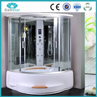 Electronic control panel with whirlpool bathtub massage complete European couple use steam shower room