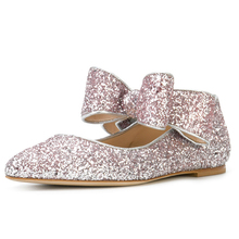 Glitter upper with bow strap beautiful pictures of women flat shoes