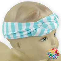 Soft Blue Stretch Hair Band With Fabric Wrap Baby Girl Knitted Headband Blue Stripe Elastic Hair Band