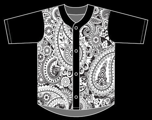 custom white paisley button down baseball jersey,wholesale baseball jerseys