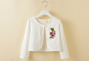 2017 Children white cardigan coat flower embroidery thin coats for girls casual princess shawl