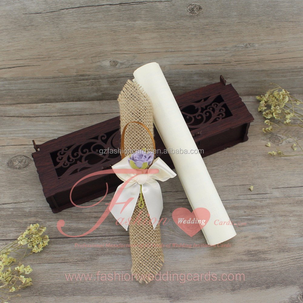 2016 Hot Sale Creative Ideal Laser Cut Wooden Box Wedding Invitation Card