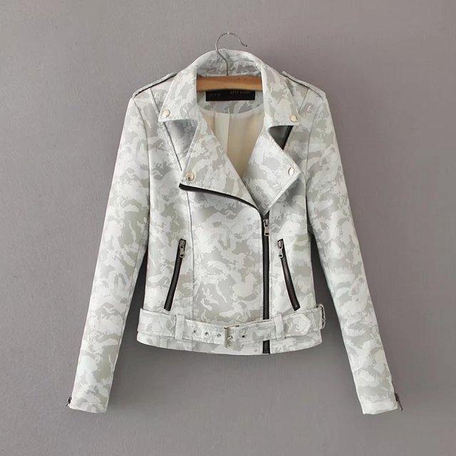 Women Camouflage leather biker jacket