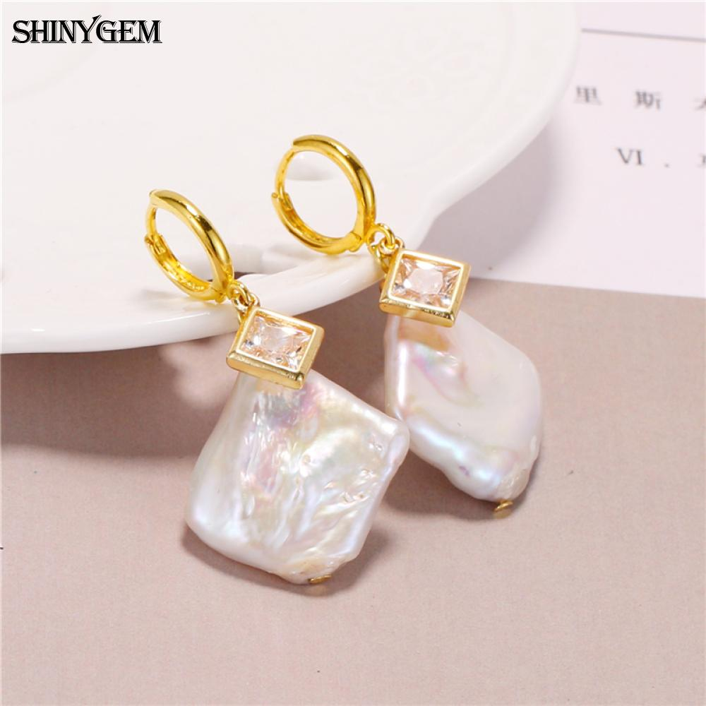 Diamond shape 24k gold plated copper fashion zircon hook dangle earrings cultured freshwater pearl piercing