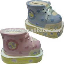 Latest baby boot shaped ceramic money bank