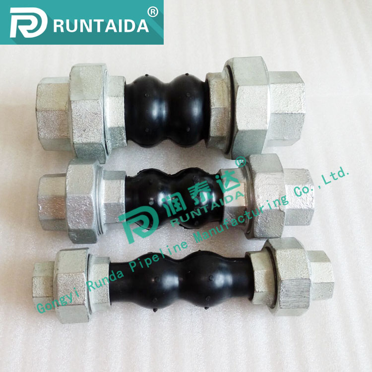 DIN Standard dn15 pipe fitting threaded union type rubber expansion joint