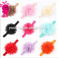 Free Shipping Charming bulk chiffon lace Flower on elastic Headbands for baby girl hair accessory