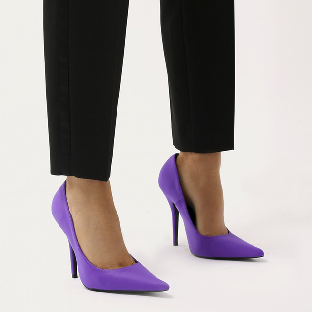 New design fashion black purple red high heel sexy women office shoes