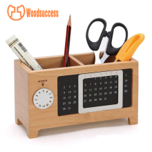 Perpetual canlendar office wood supplies desk organizer