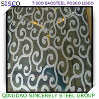 201 202 310 304 316 stainless steel decorative sheet, etching stainless steel sheet Baosteel