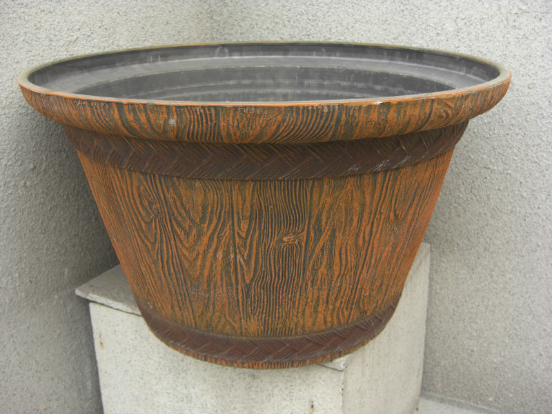 Large size decorative balcony plastic clay wooden flower pots