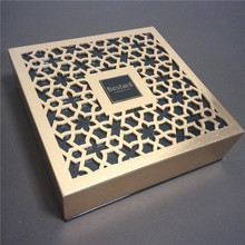 Luxury box packaging wood engrave laser cutting gold foil wooden box for middle east chocolate