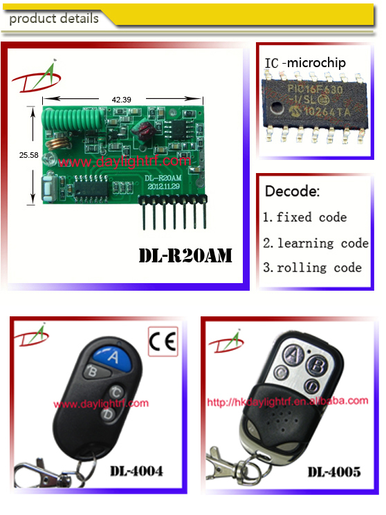HCS301 rolling code decoder radio remote control RC transmitter and receiver for electric door lock