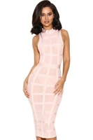 Top quality new elegant design sexy ladies pink grid bodycon bandage dress