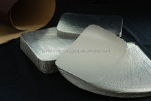 PET laminated cardboard lids for aluminium foil containers