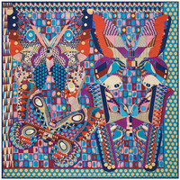 130cm*130cm H sync new Phantom butterfly wings wave point women geometric pattern large square twill silk scarves