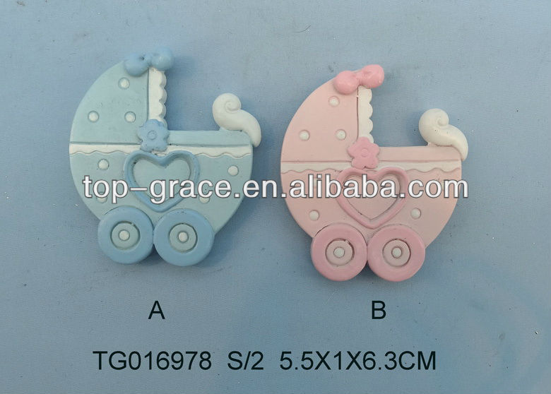 Polyresin baby carriage magnet gift