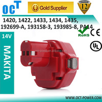 Replacement Makita 14.4v 2000mah Ni-CD Power Tool Battery for Makita 1420 1422 192600-1 193985-8 6233dwae 6333dwae, 14.4 Volt