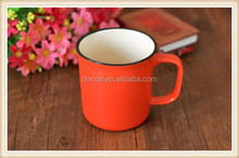 porcelain red mug in enamel red mug