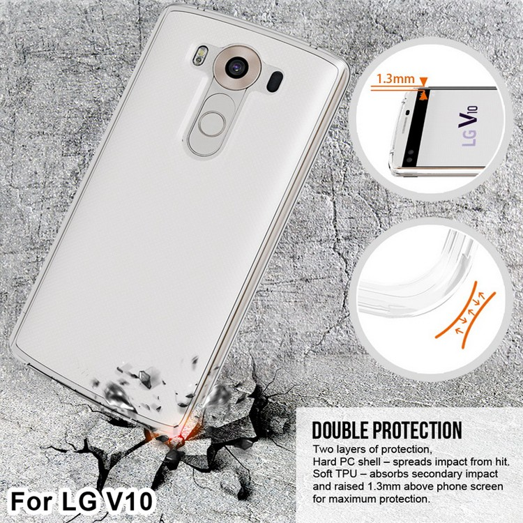 Best quality clear custom deisgn tpu pc combo phone case for LG V10