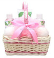 Spa gift basket with flower fragrance -bath sets include shower gel,bubble bath ,body lotion,bath bombs