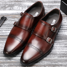 CZ82911 Italian famous brand mens leather shoes pointed toe monk strap loafers good year handmade genuine leather shoes