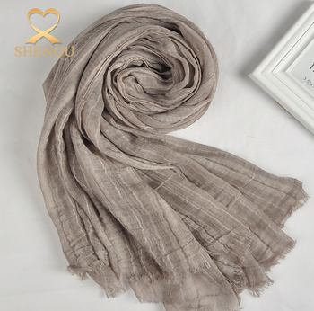 2017 Spring New Women Long Big Voile Soft Wrap Cotton Linen Scarf Shawl Stole Pure Candy Colors Crinkle scarf