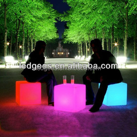FANCY! IP68 Waterproof Living Accents Outdoor Furniture LED cube with 16 Color Changing and WiFi Controlling
