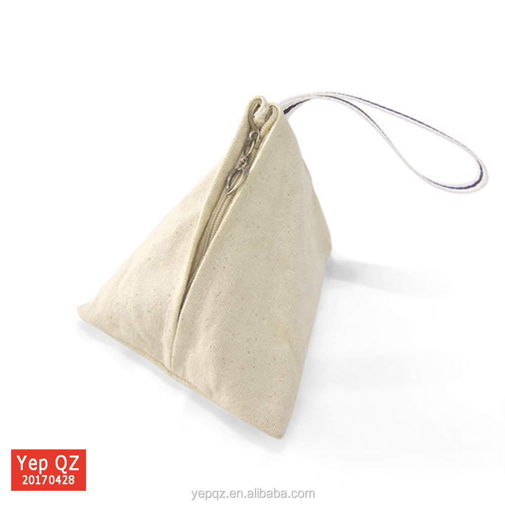 China supplier promotion cute small triangle coin purse 100% cotton canvas custom zipper gift bag