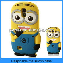Yellow 3D cartoon hybrid silicone minion case for samsung galaxy s3 s4 s3mini s4mini(PT-S4207)