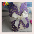 purple hand made invitation card design laser cut rose wedding card with accessory