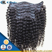 hot sale!! cheap and high quality kinky curly 100 human peruvian clip in hair extensions free sample for black women