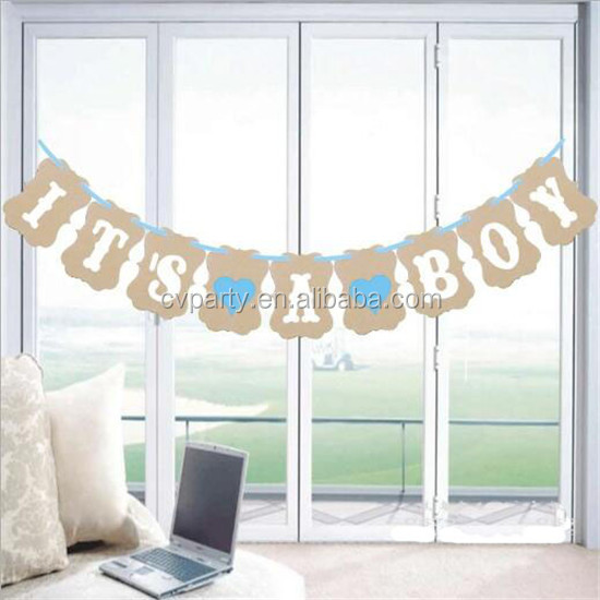 Hot Selling Baby Shower <strong>Decorations</strong> for boy Its A Boy Party Letter Banner