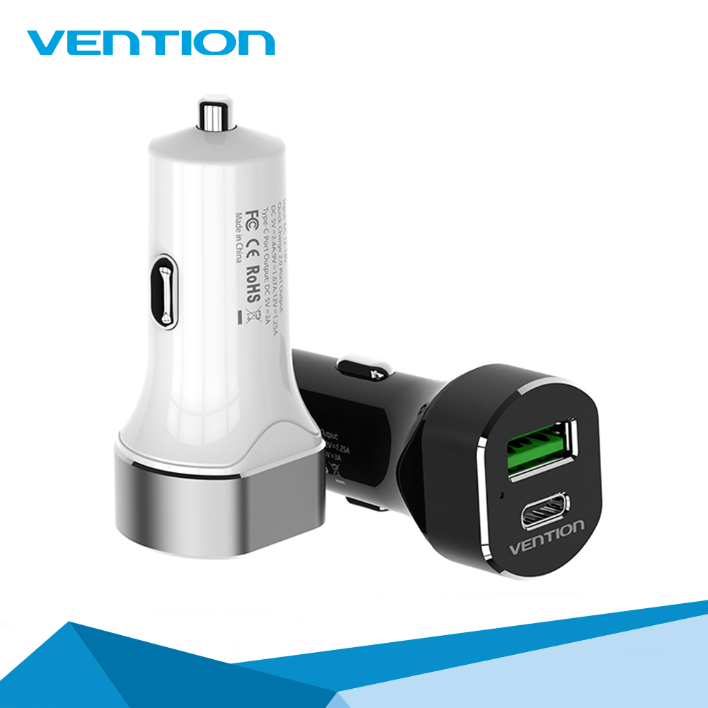 Vention 2.4A /3A Quick Smart Universal USB Type-C Car Charger for Samsung iPhone Xiaomi Oneplus