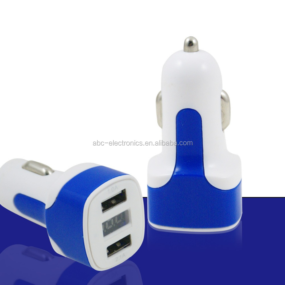 Hot Selling New Design Double USB Car Charger Adapter 12V-24V ,2.1A 3.1A For Mobile Phone