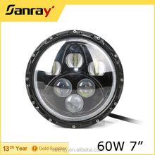 7Inch 60W LED Work Light /High-Low Beam Angel Eyes Jeep Wrangler Headlamp