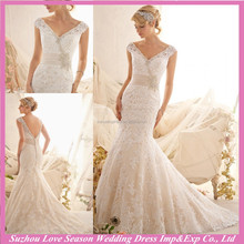 WD3114 Fashion champagne vintage lace appliqued satin band mermaid/trumpet court train deep V back wedding gown off shoulder