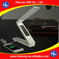 CE ROHS touch dimmable DC battery LCD clock LED desk lamp