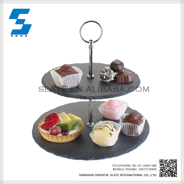 New Design Hot Selling 2 layer slate cake stand serving tray for sale