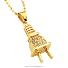 Hiphop popular simulated crystal plug pendant necklace rhinestone cuban chain men jewelry for gift