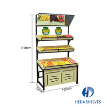 China supplier supermarket wooden fruit and vegetable shelf for display