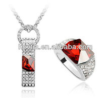 Elegant fashion jewelry sets costume jewelry rhinestones for necklaces ruby gemstone rings set