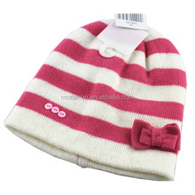 New children cute striped winter acrylic knitted beanie hat with flower