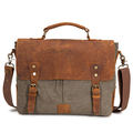 Grey canvas 14 inch laptop messenger bag with leather trim